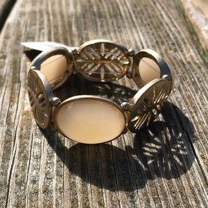 Macys Gold Cream Color Stretch Bracelet
